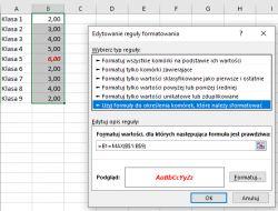 MS Excel 2013 -formatowanie warunkowanie
