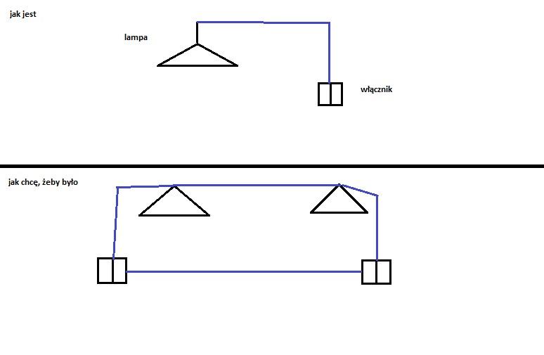 pod��czenie 2 lamp z jednej + dodatkowy wy��cznik schodowy podw�jny