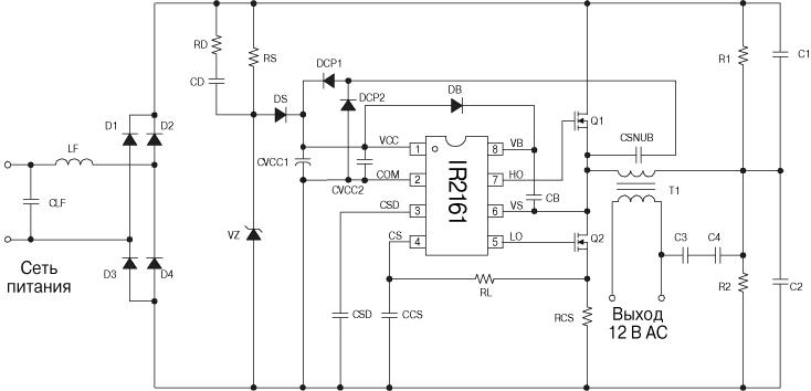 Особенности электронного трансформатора на IR2161: Интеллектуальный драйвер полумоста; Защита от короткого замыкания...