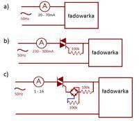 Prąd sieciowy zwiększa się po szeregowym dołączeniu triaka.