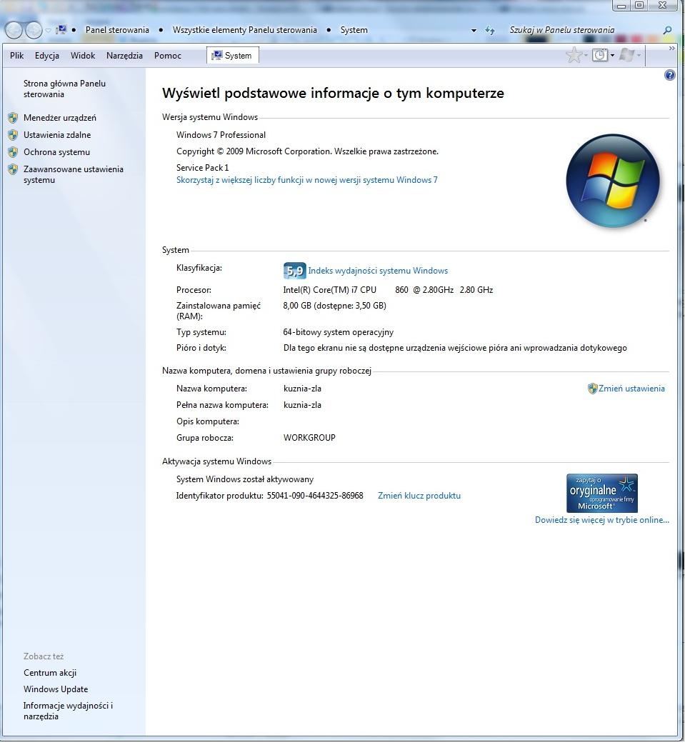 Windows 7 64bit - nieudostepniony ca�y zamontowana pami�� RAM