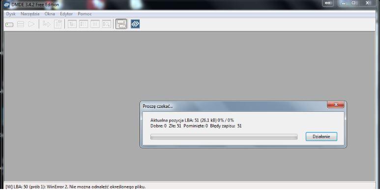 Segate ST950042 0AS USB Device partycja RAW Błąd danych CRC 23