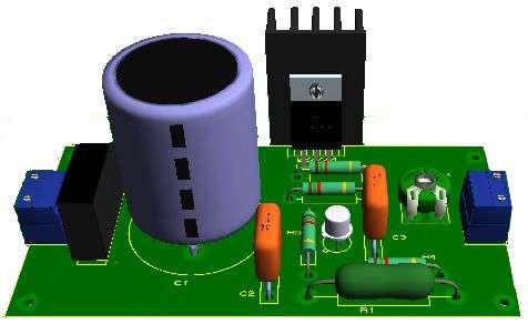 Wzmacniacz TDA2040, przedwzmacniacz mic i piezo, zasilanie 2x12V aku/trafo