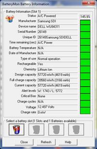 Dell KM742 11,1V 56Wh; Samsung SDI Dell WU84311; 150% naładowania baterii