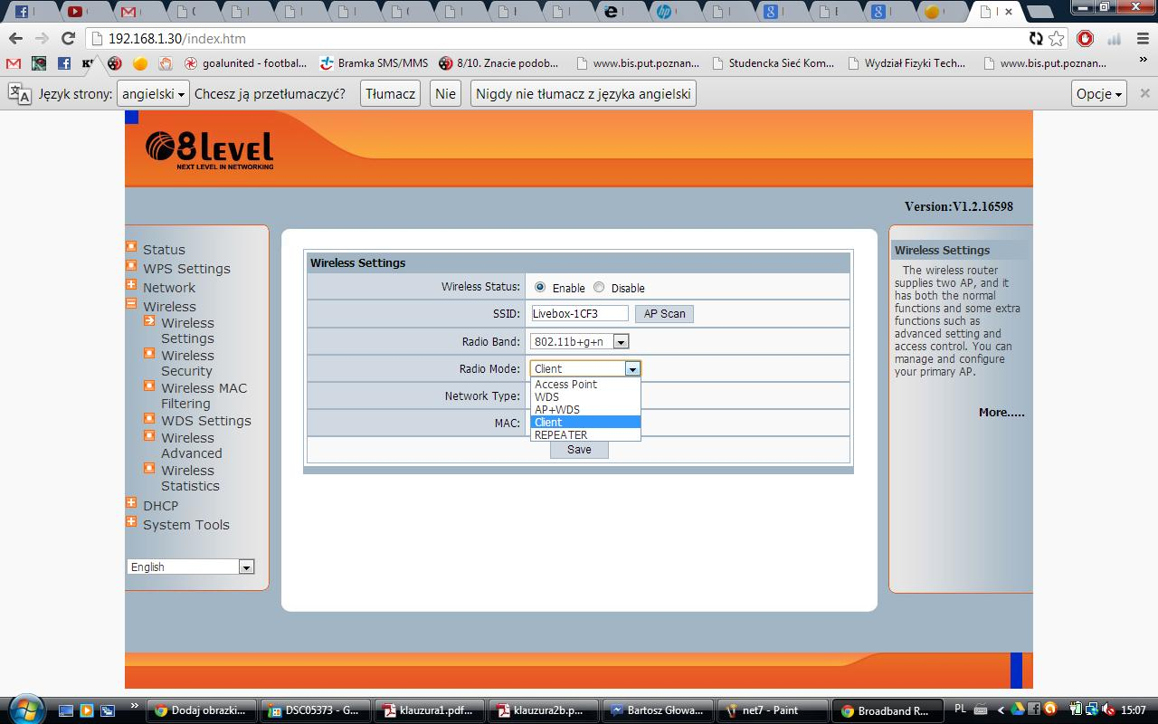 Po��czenie - Livebox, tuner TV przez router 8level wrt-150