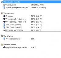 Toshiba A500 - wysoka temperatura procesora, zaciecia myszki