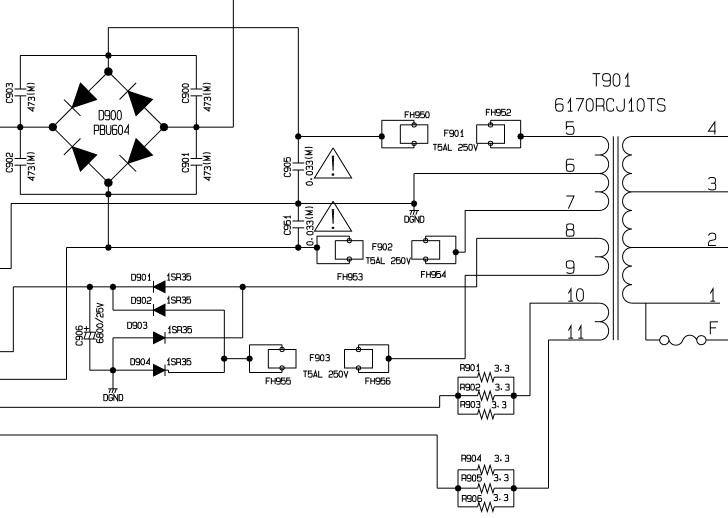 6170RCJ10TS - Rozpoznanie transformatora (pr�dy, moc, schemat)