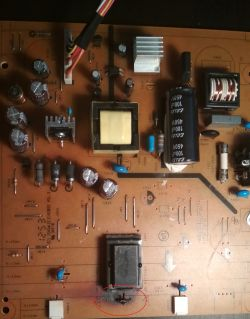 ACER P246H power board E162032 - Burned capacitor C817 after replacement worked