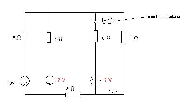 W obwodzie jak na rysunku obliczyć rozpływ prądów...