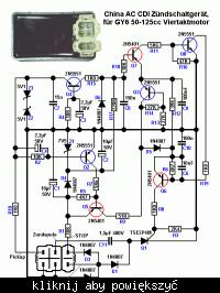 Schemat modułu AC CDI chińskich skuterów 139qma/qmb GY-6