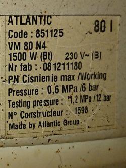 Wymiana termostatu Atlantic VM 80 N4