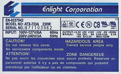 ENlight Corporation model: ATX-723A Wybucha kondensator C32 470uF/25V
