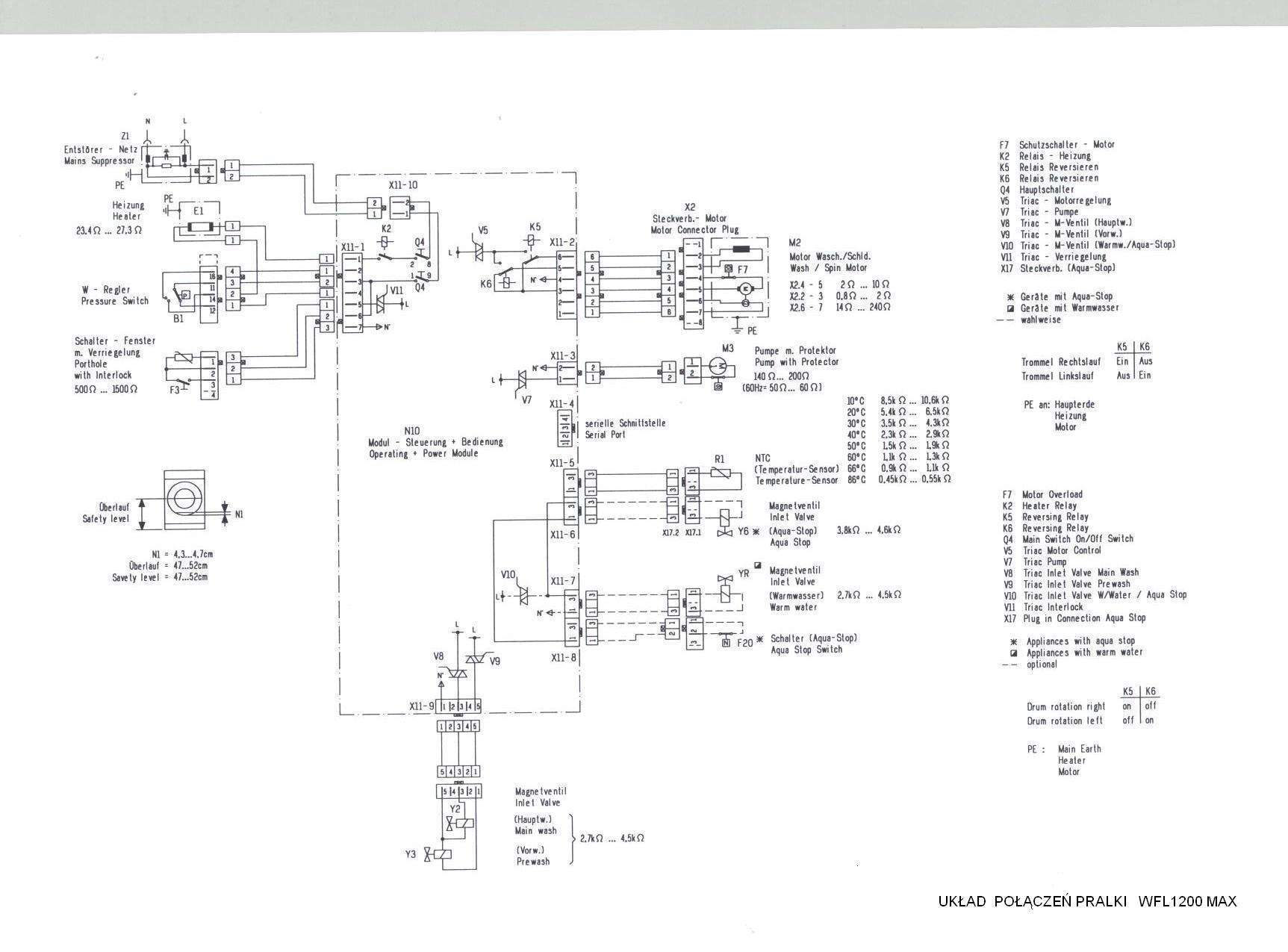 Bosch WFL1200 - Zasilanie elektrozawor�w wody oraz sterowanie blokada drzwiczek