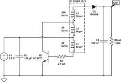 Ładowanie kondensatora przetwornicą step-up