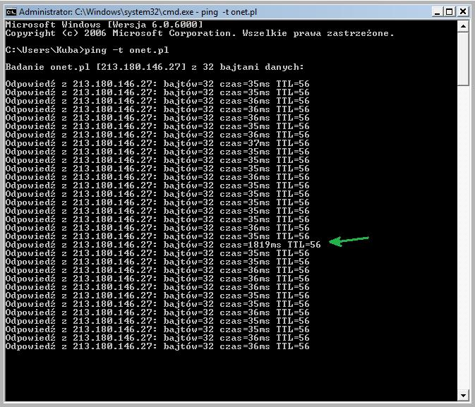 Skacz�cy ping - konfiguracja routera.