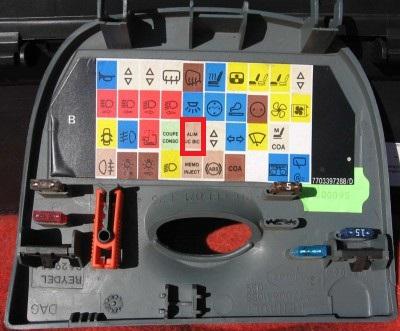Renault Megane Scenic bezpiecznik odpowiadaj�cy za pod�wietlenie licznika