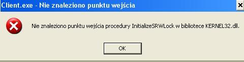 Wej�cie procedury InstalizeSRWLock w biblio. Kernel32.dll