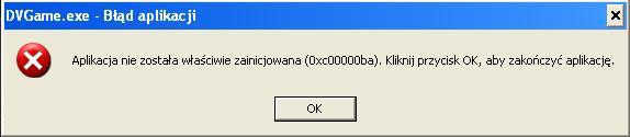 problem - Aplikacja nie zosta�a w�a�ciwie zainicjowana (0xc00000ba)