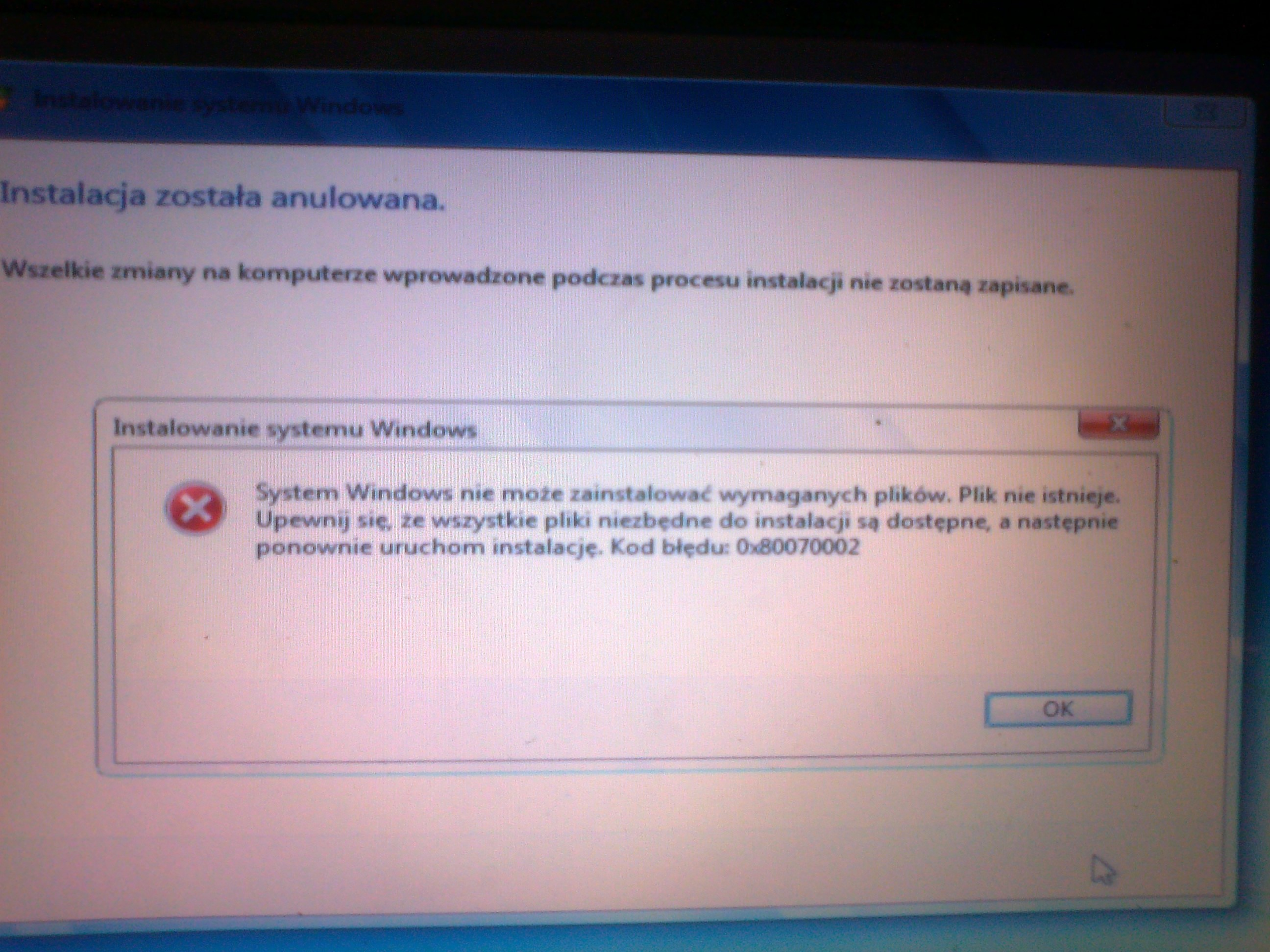notebook hp 530 - B��d instalatora windows
