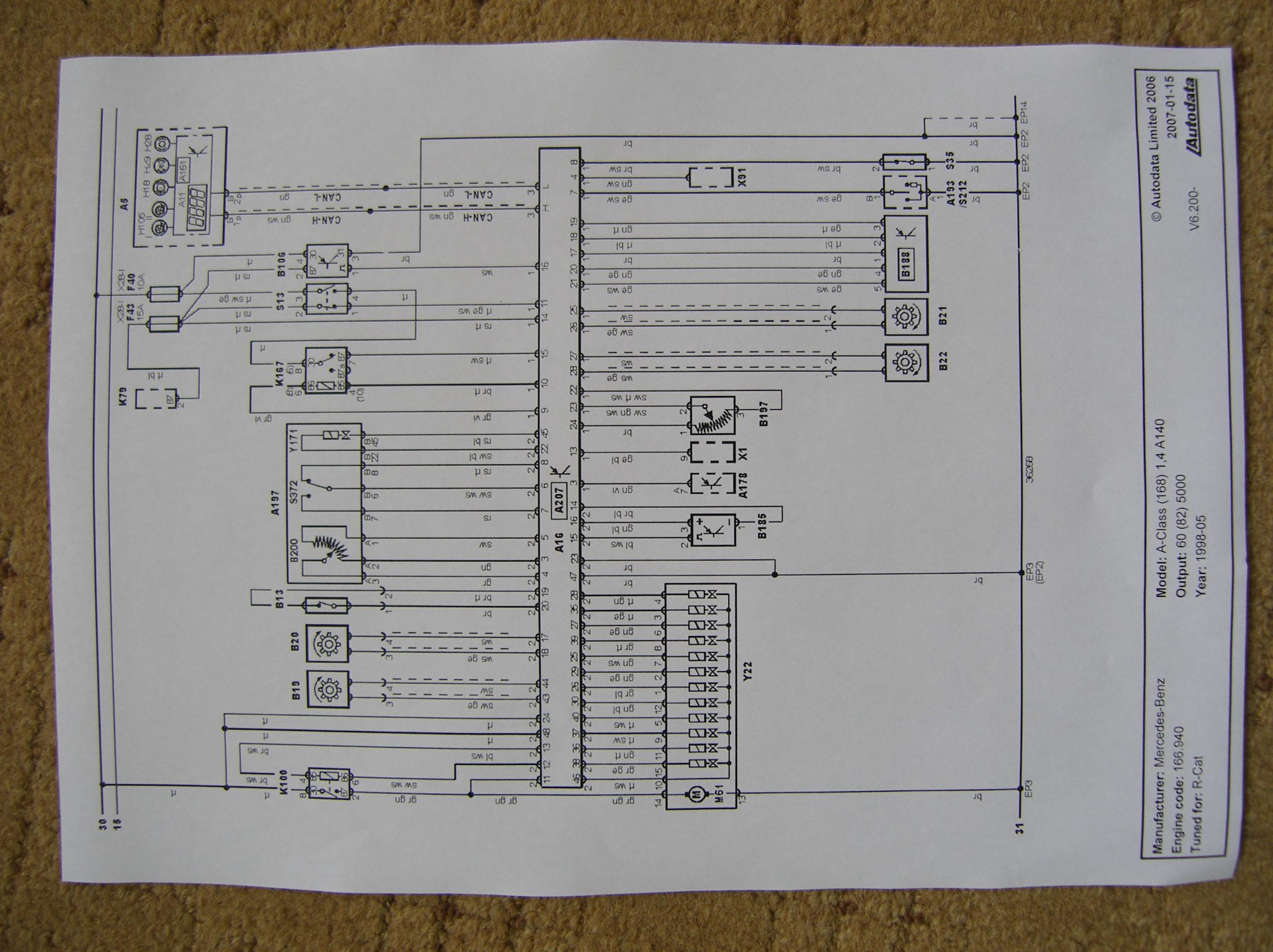 Schemat instalacji elektrycznej Mercedesa A-klasa