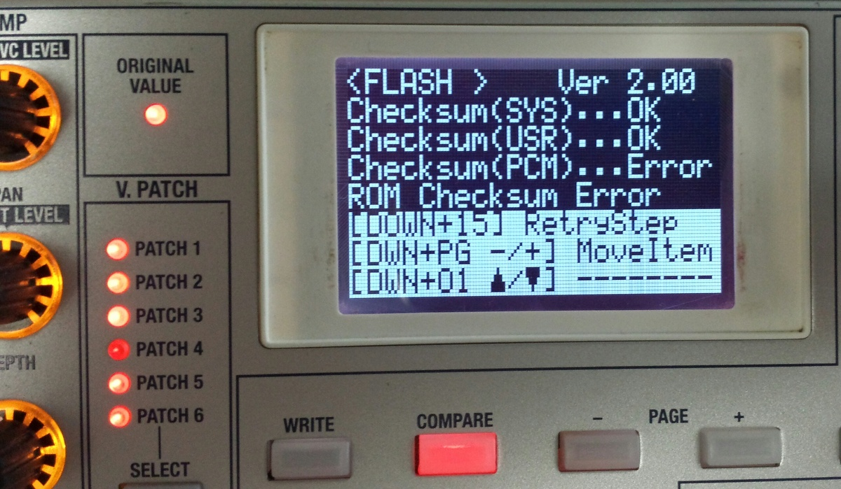 Syntezator Korg Radias - - DRUM, checksum error