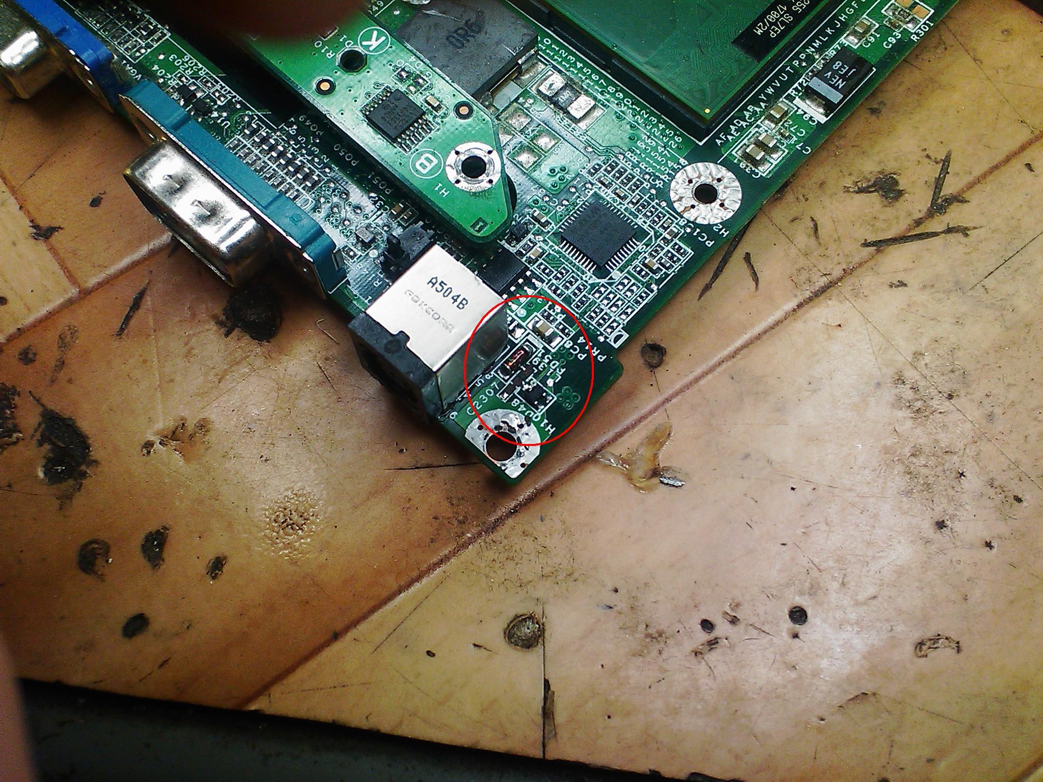 Dell D505, spalony uk�ad ko�o zasilania