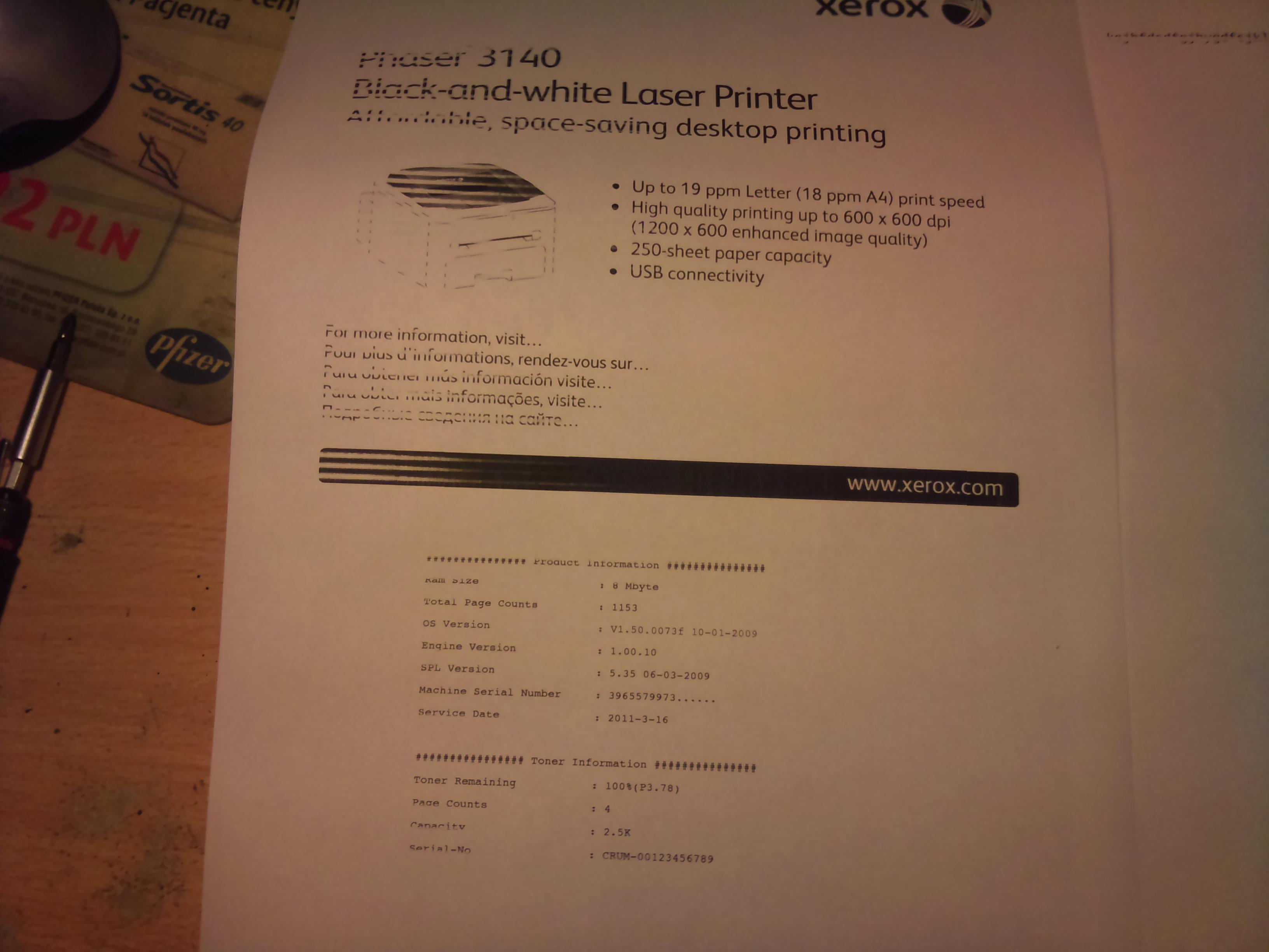Xerox phaser 3140 - �le drukuje z lewej strony po regeneracji tonera