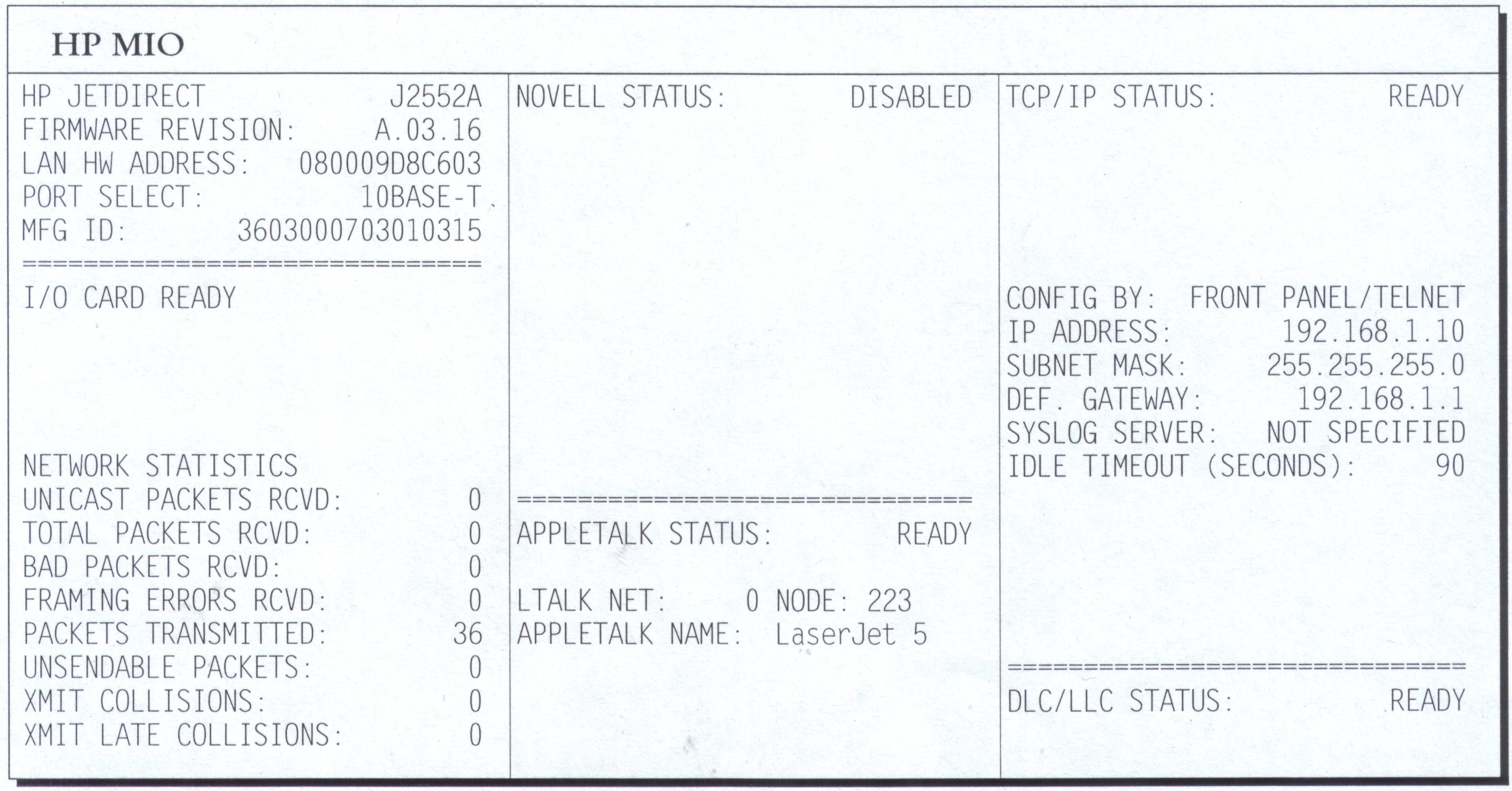 HP LaserJet 5N - PING nie przechodzi