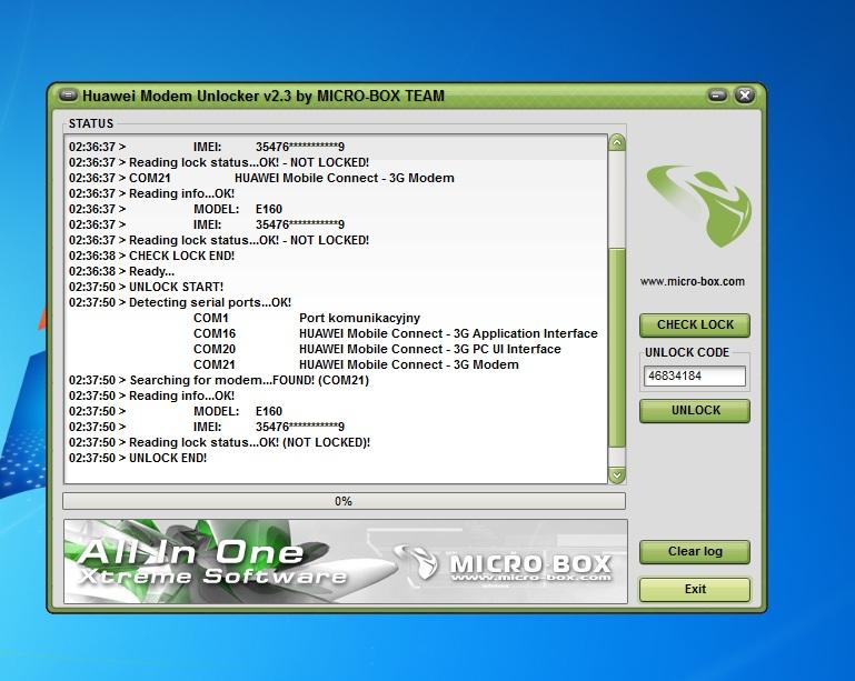 Simlock huawei E156G,E173,E220,E5830, Icon 225 Simlock Huawei E353, E367