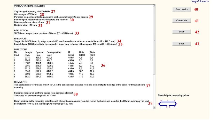 kalkulator yagi - jak używać, tłumaczenie kalkulatora VK5DJ