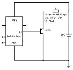 BC337 sterowany z 5V [Arduino], przełączający 12V