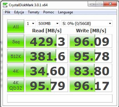 Intel SSD - Niskie transfery.
