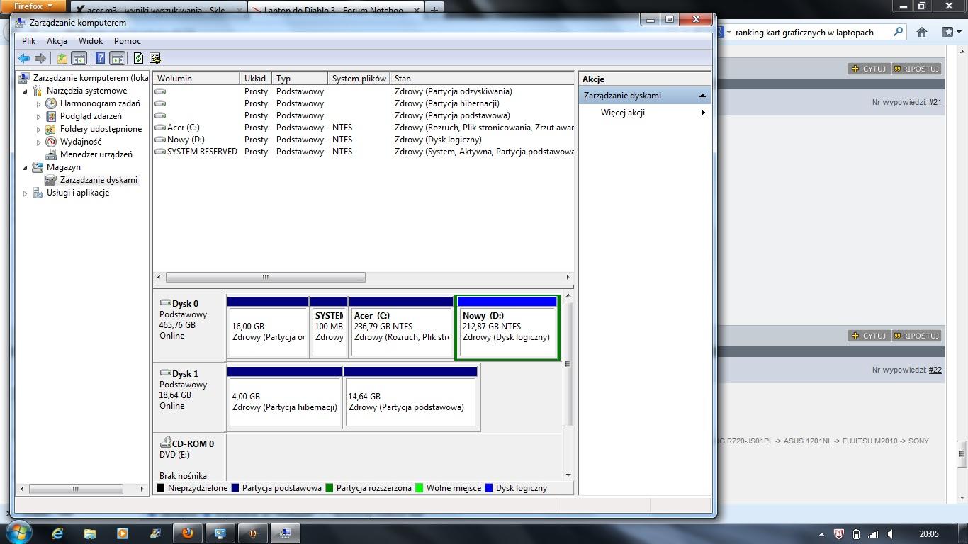 Acer M3 - Dysk SSD widoczny ale w systemie