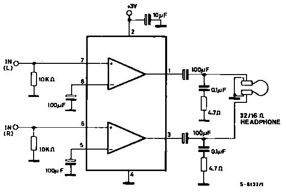 Wzmacniacz s�uchawkowy na max. 6V - schemat