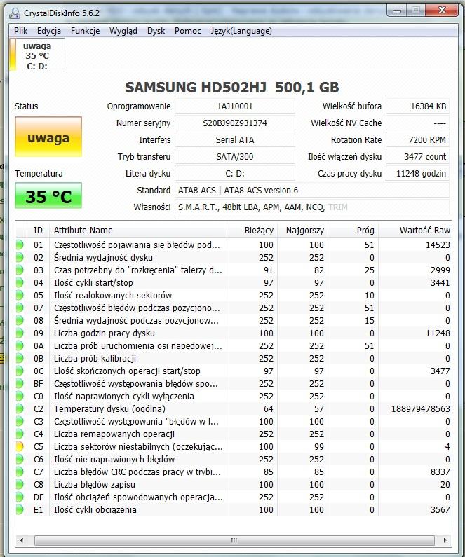 Samsung HD502IJ - SMART dysku czy kfalifikuje si� do Gwarancji ?