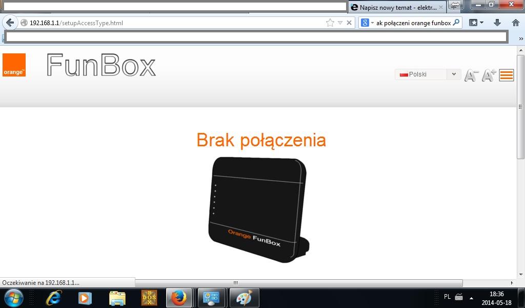 Orange funbox - B��d po��czenia, brak mo�liwo�ci konfiguracji.