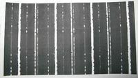 Samsung ML-2010PR poziome białe pasy na czarnym wydruku i kropki białym - foto