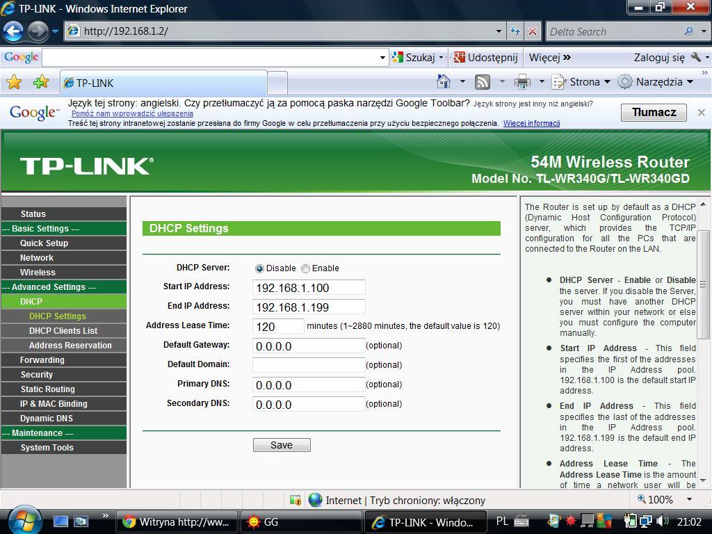Problem z konfiguracj� z TP-LINK TL-WR340G