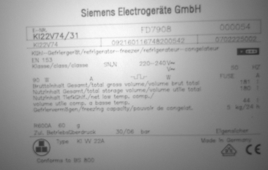 Siemens KI22V74/31 - Lod�wka ch�odzi bardzo s�abo, zamra�alnik OK.