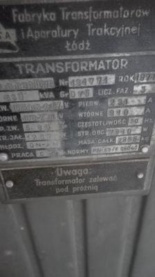 [Sprzedam] Transformator olejowy 630kVA - 1974r