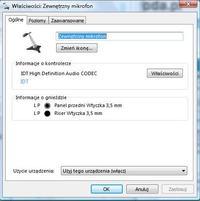 Windows 7 na Dellu - Pod��czony mikrofon nie dzia�a, tylko wewn�trzny