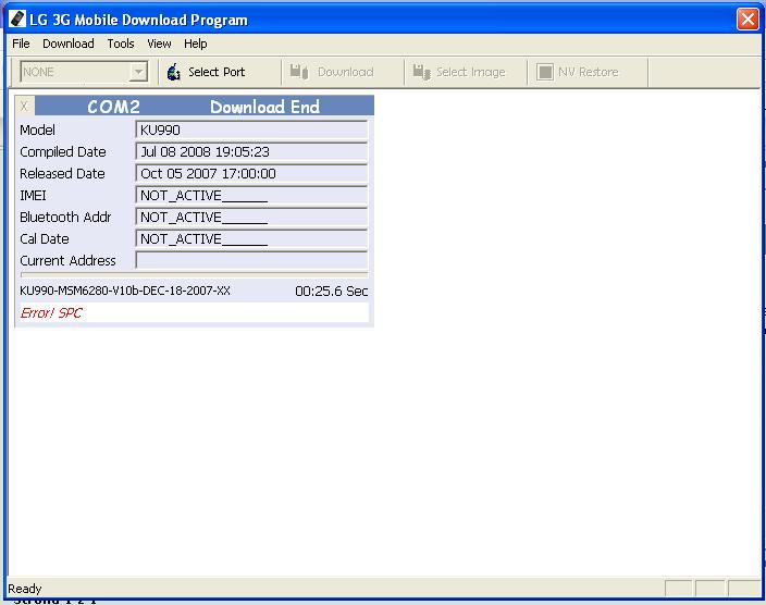 LG ku990 error! SPC podczas flasha