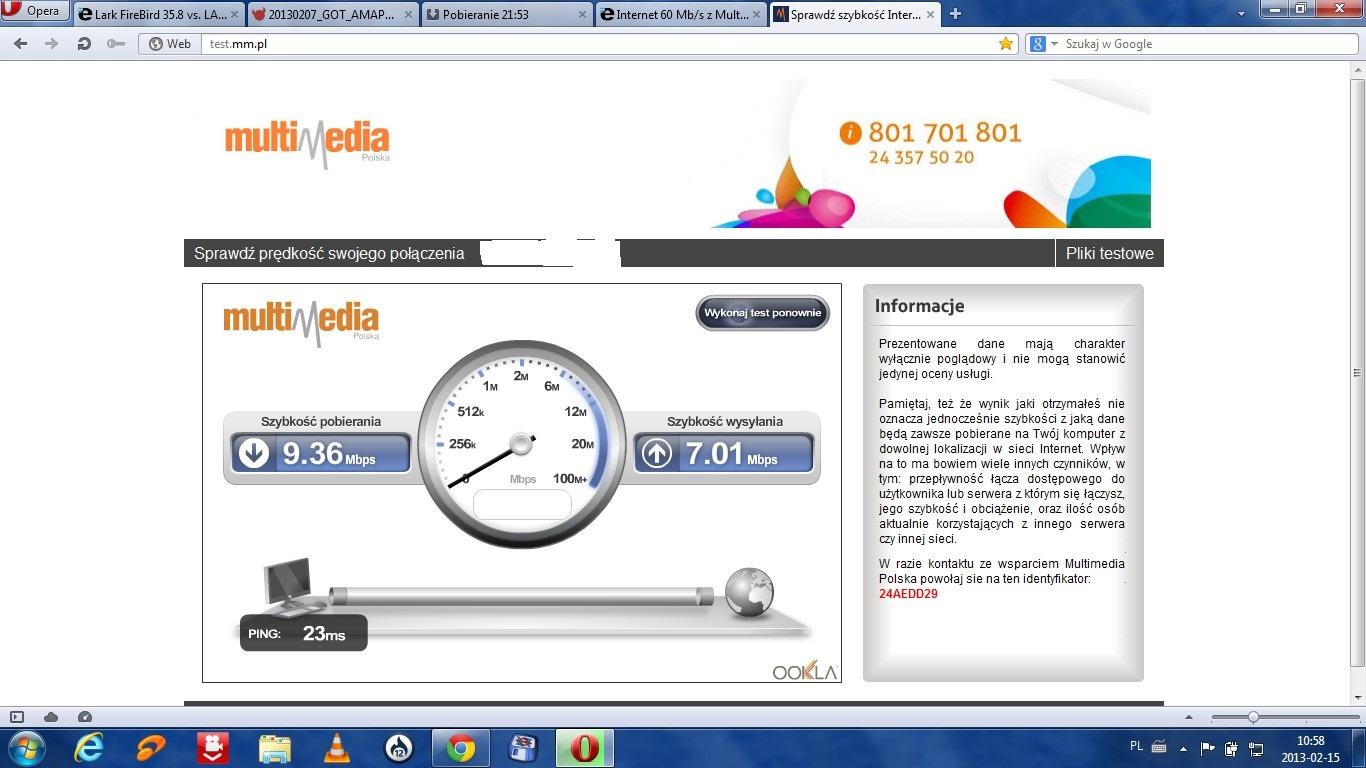 Internet 60 Mb/s z Multimedia Polska prosz� u�ytkownik�w o opini�.