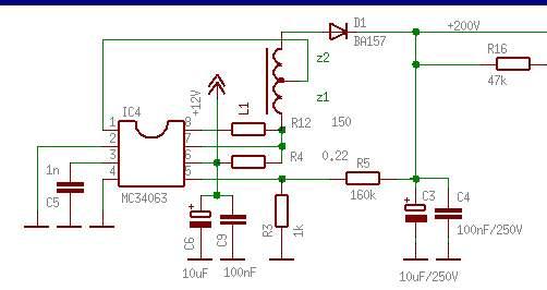 Przetwornica z wykorzystaniem MC34063 5V->300V