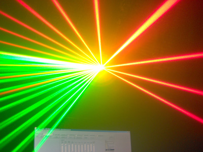 Projektor laserowy 100mW 532nm + 300mW 650nm na galvach 15k