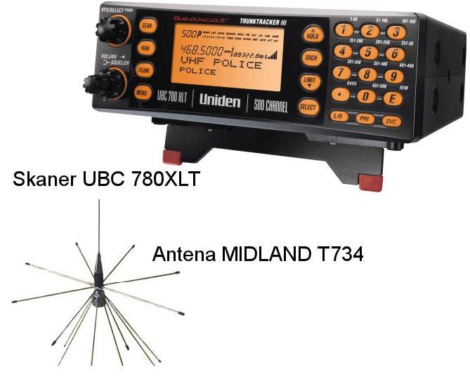 Sprzedam skaner Uniden UBC 780XLT + antena MIDLAND T734