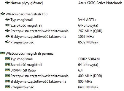 Asus k70ic po wymianie procesora.