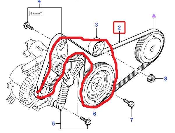 Mondeo/MK.III/TDCI 130KM - Obej�cie na pasku osprz�tu spr�arki klimatyzacji