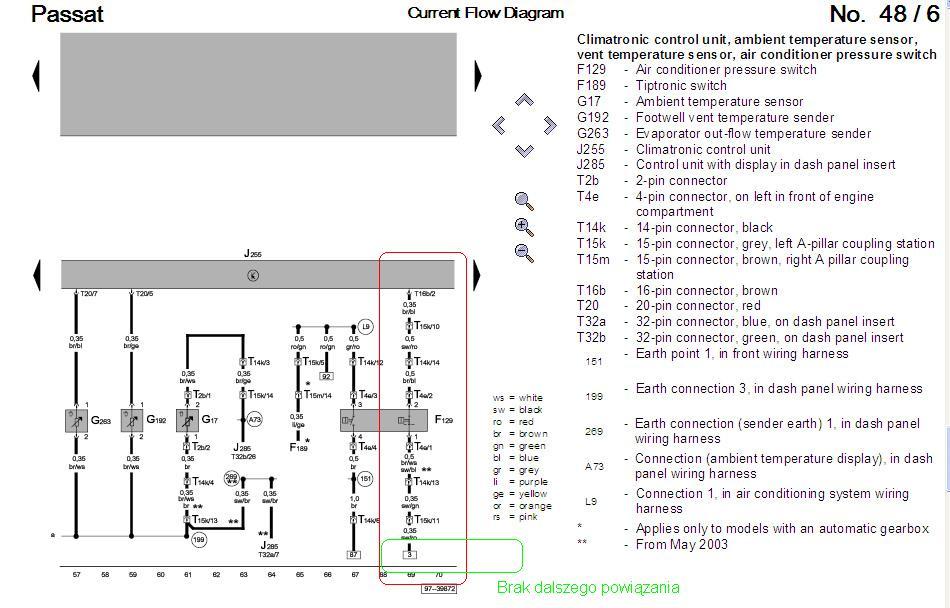 Passat B5 1.8t 99r  szukam schematu instalacji el. klimatyzacji - czujnik F-129
