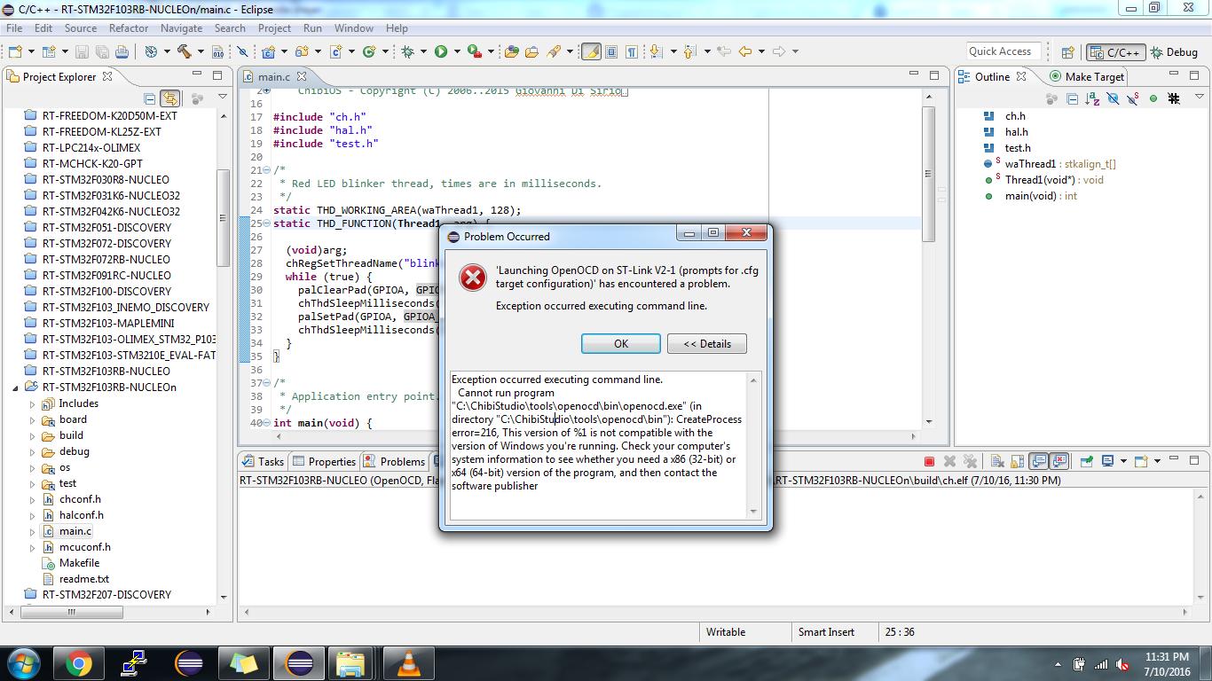 chibi-studio throwing error while opening open-ocd - ChibiOS Free